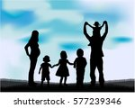 silhouette of a large family. | Shutterstock .eps vector #577239346