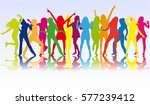 silhouettes of pretty women. | Shutterstock .eps vector #577239412