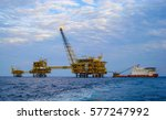 three offshore platform with... | Shutterstock . vector #577247992