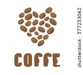 coffe beans in heart. vector... | Shutterstock .eps vector #577253062