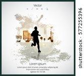 silhouette of marathon runner | Shutterstock .eps vector #577255396