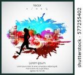 silhouette of marathon runner | Shutterstock .eps vector #577255402