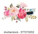 watercolor floral composition.... | Shutterstock . vector #577272052
