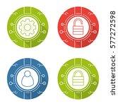 cyber security flat design long ... | Shutterstock .eps vector #577272598