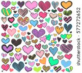 valentines day hearts doodles... | Shutterstock .eps vector #577272652