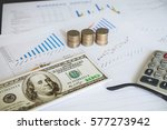 money and calculator on... | Shutterstock . vector #577273942