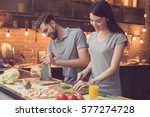 pizza time. young beautiful... | Shutterstock . vector #577274728