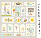 set of easter gift tags and... | Shutterstock .eps vector #577279012