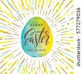 watercolor easter egg with... | Shutterstock .eps vector #577279036