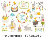 set of cute easter cartoon... | Shutterstock .eps vector #577281052