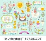 set of cute easter cartoon... | Shutterstock .eps vector #577281106