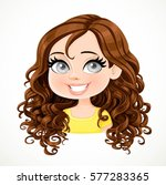 beautiful brunette girl with... | Shutterstock .eps vector #577283365