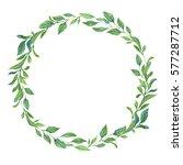 watercolor flower wreath. | Shutterstock . vector #577287712