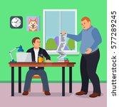 hard working man in office... | Shutterstock .eps vector #577289245