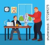 hard working man in office... | Shutterstock .eps vector #577289275