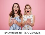 two cheerful excited young...   Shutterstock . vector #577289326