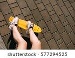 close up of long girl leg in... | Shutterstock . vector #577294525