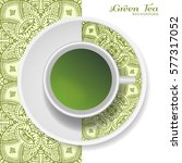 cup of green tea with doodle... | Shutterstock .eps vector #577317052