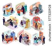 set of isometric people in... | Shutterstock .eps vector #577320928