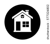 house circle icon. black  round ... | Shutterstock .eps vector #577326802