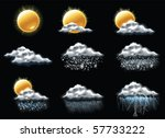 vector weather forecast icons.... | Shutterstock .eps vector #57733222