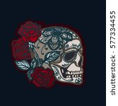skull with roses. the symbol of ... | Shutterstock . vector #577334455
