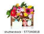 easter eggs with flowers on... | Shutterstock . vector #577340818
