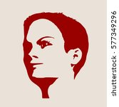 face profile view. elegant...   Shutterstock .eps vector #577349296