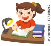 a cute girl writing for... | Shutterstock .eps vector #577358062