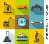 petroleum icons set. flat... | Shutterstock . vector #577359385