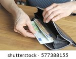 white woman is paying with a... | Shutterstock . vector #577388155