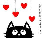 black cat looking up to hanging ... | Shutterstock .eps vector #577389538