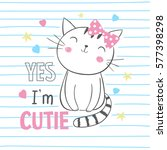 cute kitty. t shirt graphic for ...   Shutterstock .eps vector #577398298