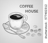sketch hand drawn image of cup... | Shutterstock .eps vector #577402312