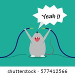bad rat happy after bite cable  ... | Shutterstock .eps vector #577412566