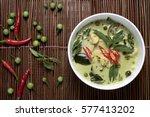 chicken green curry thai food ... | Shutterstock . vector #577413202