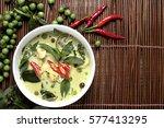 chicken green curry thai food ... | Shutterstock . vector #577413295