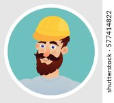builder in a helmet with a... | Shutterstock .eps vector #577414822