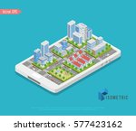 vector isometric low poly city  ... | Shutterstock .eps vector #577423162