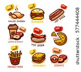 set of colorful cartoon fast... | Shutterstock .eps vector #577444408