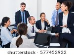 cheerful  working team sharing... | Shutterstock . vector #577452922