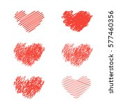 red heart icons set  hand drawn ... | Shutterstock .eps vector #577460356