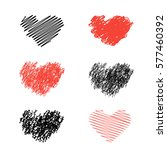 heart icons set  hand drawn... | Shutterstock .eps vector #577460392