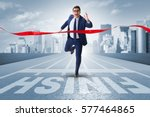 businessman on the finishing... | Shutterstock . vector #577464865