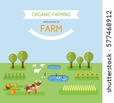 welcome to farm. organic... | Shutterstock .eps vector #577468912
