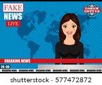 anchorman on tv broadcast news. ... | Shutterstock .eps vector #577472872