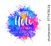 watercolor happy holi and... | Shutterstock .eps vector #577478116