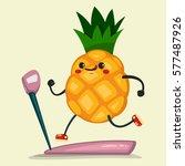 cute pineapple doing exercises... | Shutterstock .eps vector #577487926