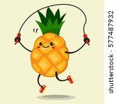 cute pineapple cartoon... | Shutterstock .eps vector #577487932