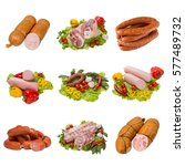 set of a different meat... | Shutterstock . vector #577489732